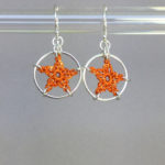 Stars earrings, silver, orange thread