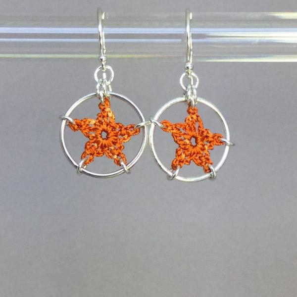 Stars earrings, silver, orange thread