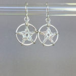 Stars earrings, silver, pearly thread