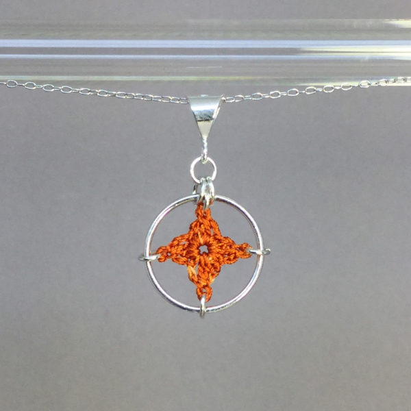 Spangles 1 necklace, silver, orange thread