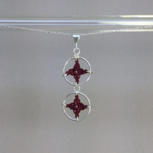 Spangles 2 necklace, silver, maroon thread