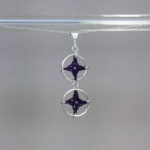 Spangles 2 necklace, silver, purple thread
