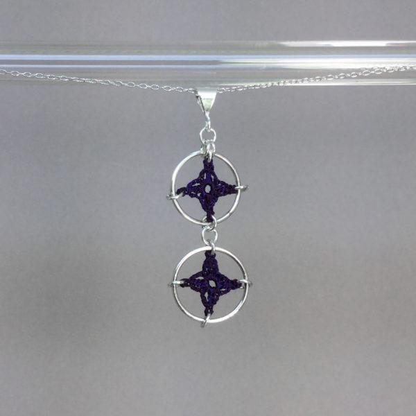 Spangles 2 necklace, silver, purple thread