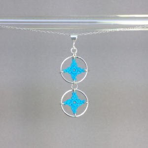Spangles 2 necklace, silver, turquoise thread