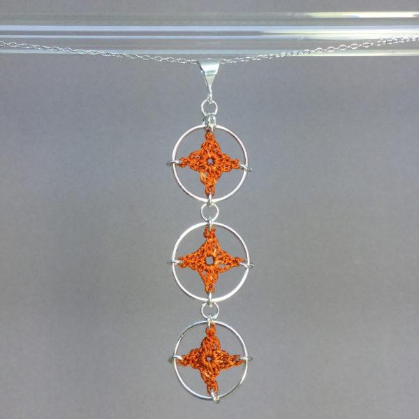 Spangles 3 necklace, silver, orange thread