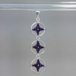 Spangles 3 necklace, silver, purple thread