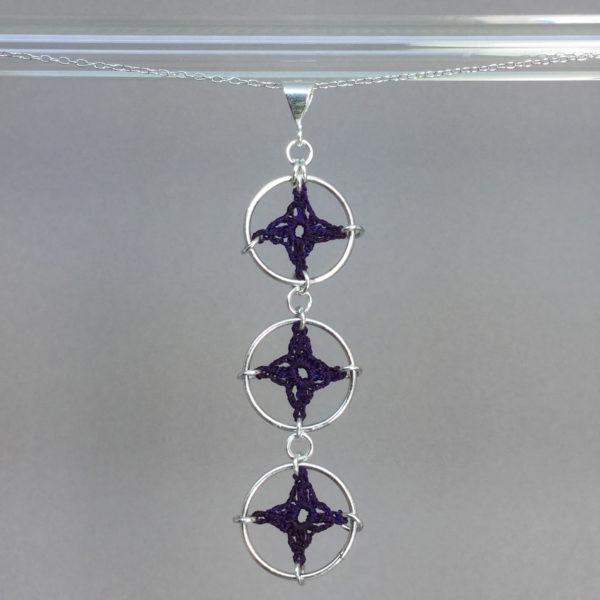 Spangles 3 necklace, silver, purple thread