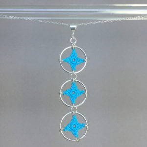 Spangles 3 necklace, silver, turquoise thread