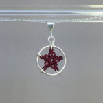 Star necklace, silver, maroon thread
