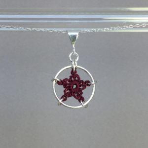 Star necklace, silver, maroon thread