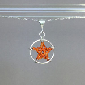 Star necklace, silver, orange thread