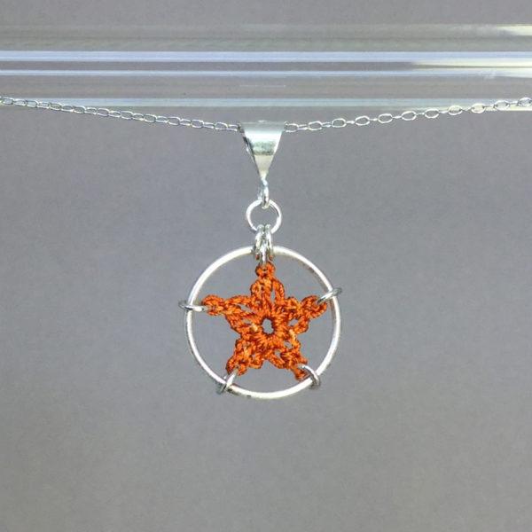 Star necklace, silver, orange thread