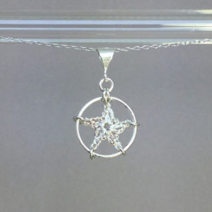 Star necklace, silver, pearly thread