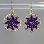 Compass Rose earrings, gold, purple thread