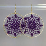 Mandala earrings, gold, purple thread