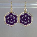 Peony earrings, gold, purple thread