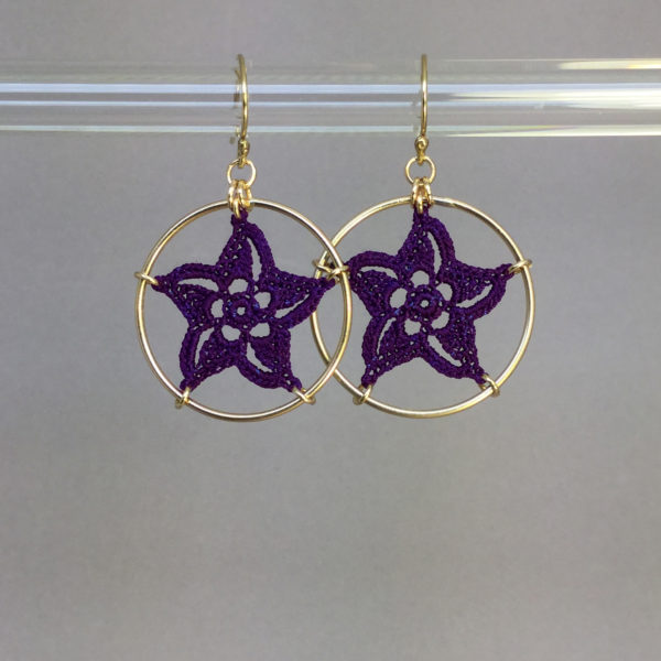 Pinwheel Star earrings, gold, purple thread