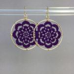 Serendipity earrings, gold, purple thread