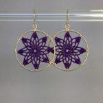 Tavita earrings, gold, purple thread