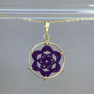 Peony necklace, gold, purple thread