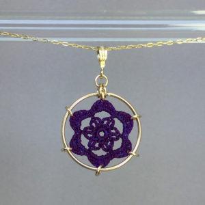 Peony necklace, gold, purple thread