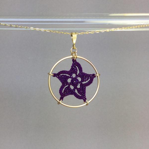 Pinwheel Star necklace, gold, purple thread