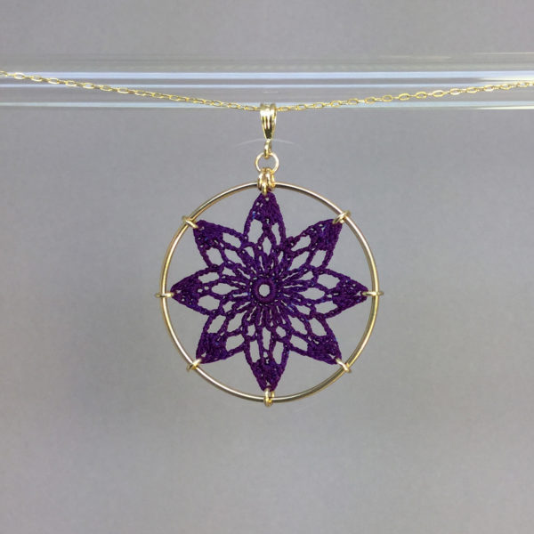 Tavita necklace, gold, purple thread