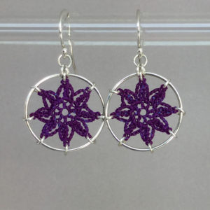 Compass Rose earrings, silver, purple thread