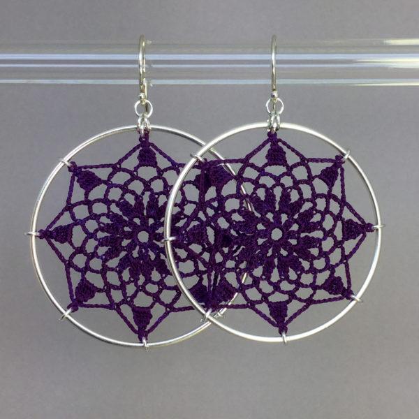 Mandala earrings, silver, purple thread