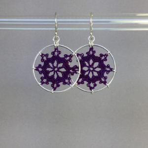 Nautical earrings, silver, purple thread