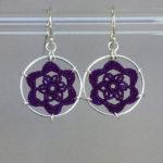 Peony earrings, silver, purple thread