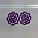 Serendipity earrings, silver, purple thread