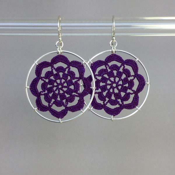 Serendipity earrings, silver, purple thread