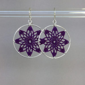 Tavita earrings, silver, purple thread