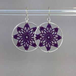 Tavita earrings, silver, purple thread