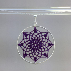 Mandala necklace, silver, purple thread