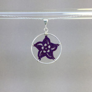 Pinwheel Star necklace, silver, purple thread