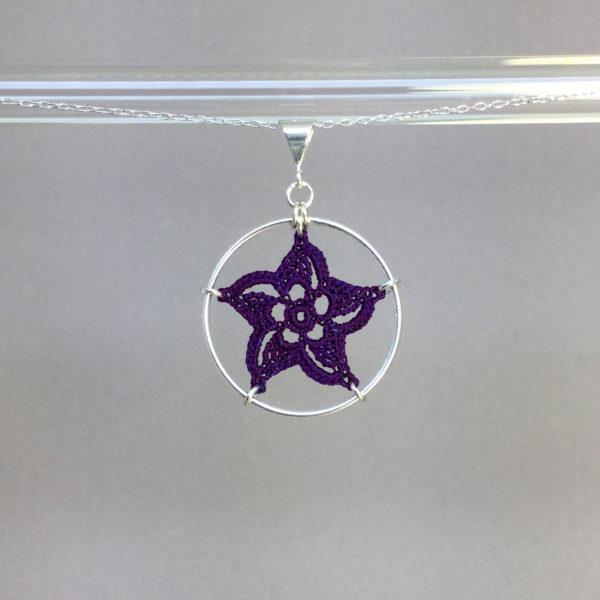 Pinwheel Star necklace, silver, purple thread
