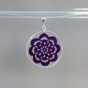 Serendipity necklace, silver, purple thread