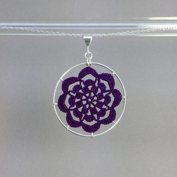 Serendipity necklace, silver, purple thread